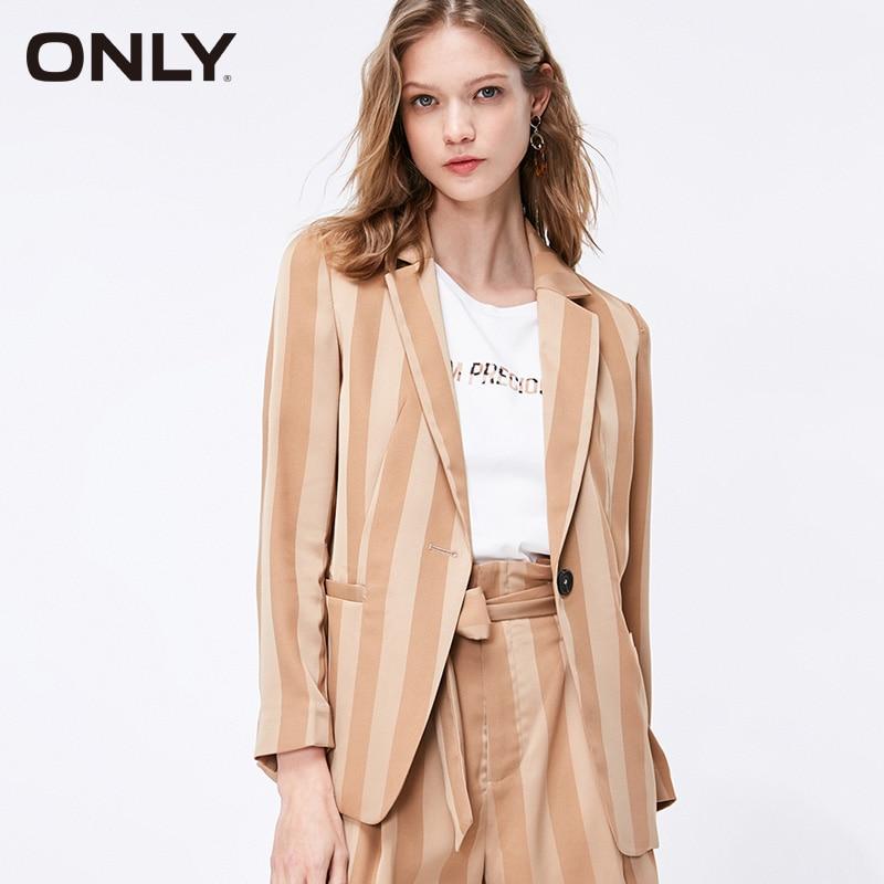 ONLY Women's Loose Fit Striped Chiffon Blazer| 119108547