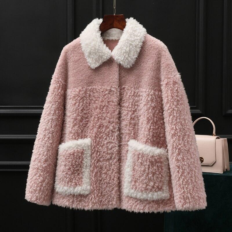 Real Fur Coat Female 100% Wool Jacket Korean Vintage Autumn Winter Coat Women Clothes 2019 Sheep Shearling Fur Tops ZT3923