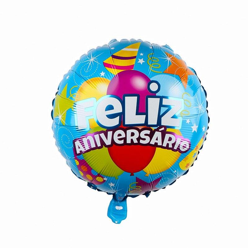 10 шт 18 Inch круглый Форма испанский Feliz cumpleaños С Днем Рождения украшения из материала майлар Фольга воздушные шары с гелием вечерние поставки-3