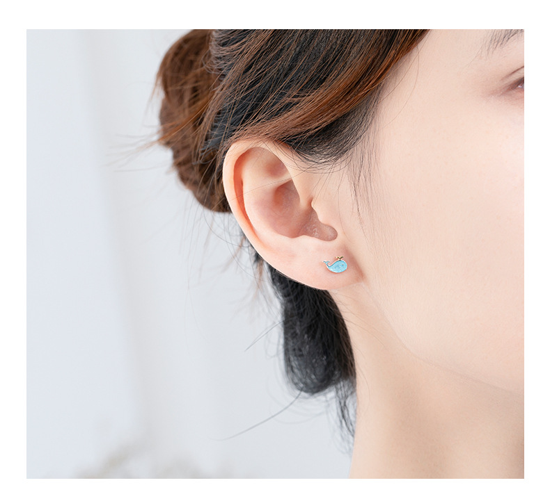 H358910a4b2ae45a6b4dd73885cd64698Y - Stud Earrings for Women with 925 Sterling Silver Earrings Dolphin Light Blue Jewelry Accessories Wholesale