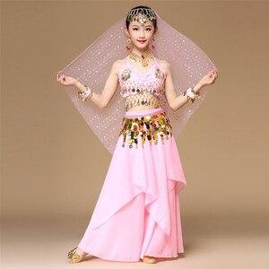 Image 5 - 5 قطعة/المجموعة الوردي نمط الاطفال ملابس رقص الشرقي الشرقية أزياء رقص البطن الرقص راقصة الملابس الهندي أزياء رقص للأطفال