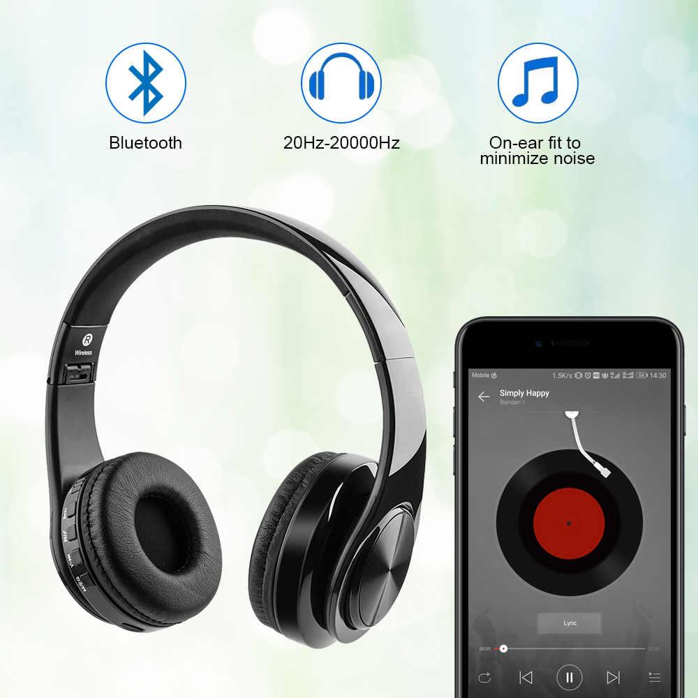 Słuchawki douszne Bluetooth HeadphoActive redukcja szumów bezprzewodowy zestaw słuchawkowy stereo z wejściem karty TF, linia Aux, miękkie nauszniki