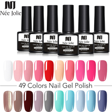 NEE JOLIE 8ml Nail Polish Gel Soak off LED UV Hybrid Lacquer Primer Varnish Red Pink Glitter Makeup