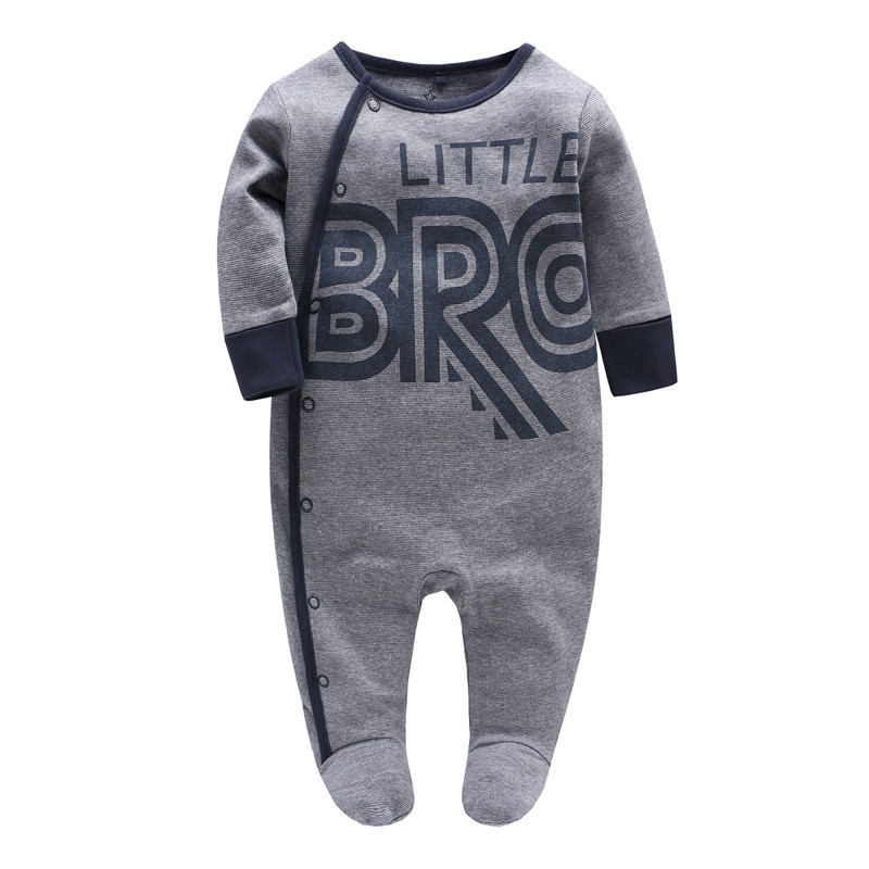 Picturesque Childhood Baby Boy Cotton Long-sleeved Wrap Hands Bodysuit Covered With Print Star Letter Clothes