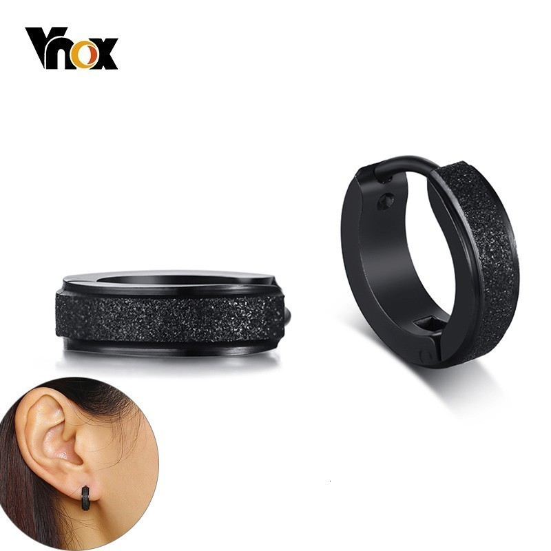 Vnox Simple Small Hoop Earrings for Women Men Sandblasting Solid Stainless Steel Circle Earrings Punk Brincos