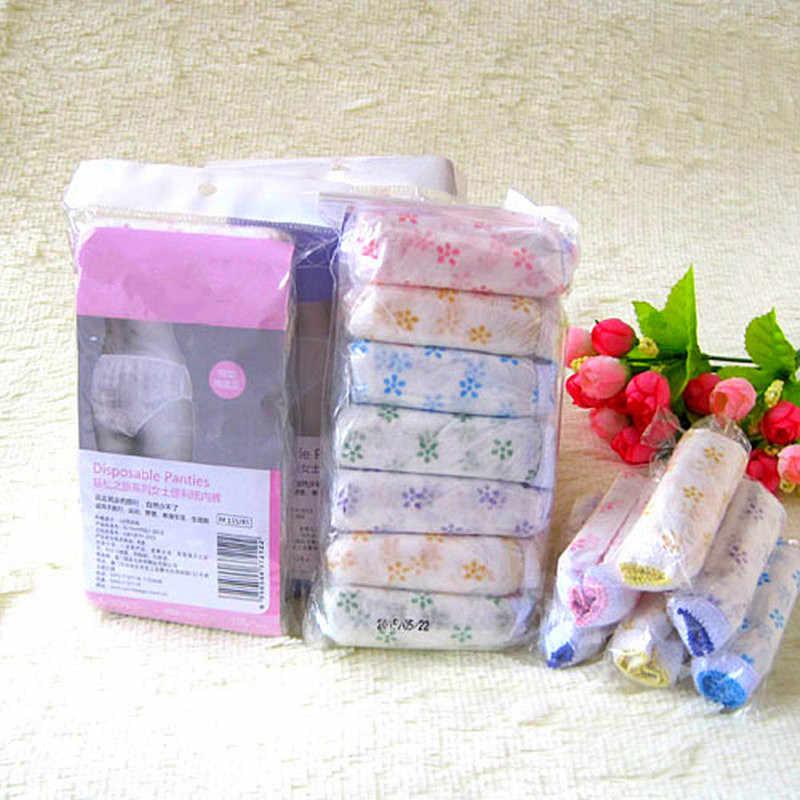 7 teile/paket Baumwolle Schwangere Briefs Pränatalen Postpartale Papier Unterhose Sterilisiert Einweg Unterwäsche Reise Höschen Intime