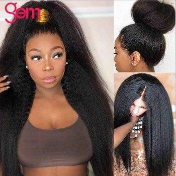 วิกผมตรง Kinky วิกผมบราซิล 13x4 ลูกไม้ด้านหน้าผมมนุษย์ Wigs สำหรับผู้หญิงอัญมณีลูกไม้ด้านหน้าด้านห...