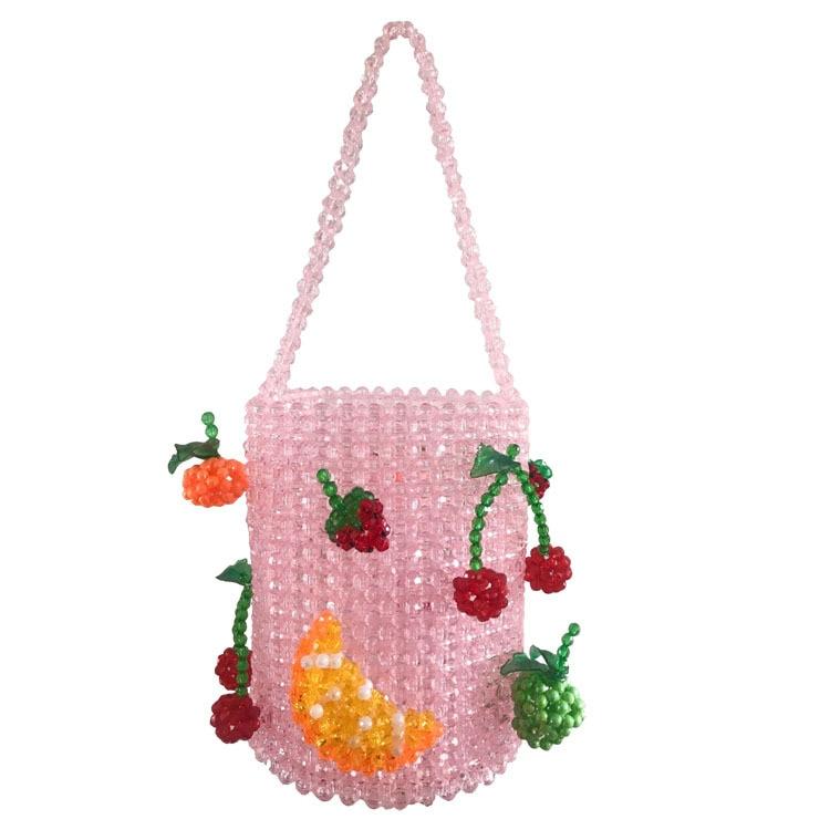 Luxury Pure Hand-woven Beaded Bucket Bag 2019 New Fashion Pearl Beaded Woven Shoulder Messenger Bag Handbags Women Family