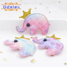 24Pcs Kawaii Elephant Patches DIY Crafts Stickers Rainbow Fishscale Animal Homemade Wedding Decoration Hair Band Accessories