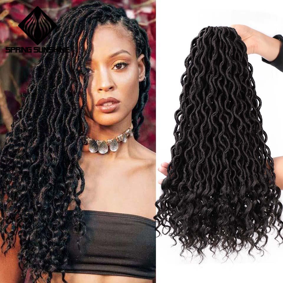 Spring Sunshine Faux Locs Crochet Braids Bohemian Curl Ombre Grey Braiding Hair Bulk Crochet Hair Extensions Synthetic Hair