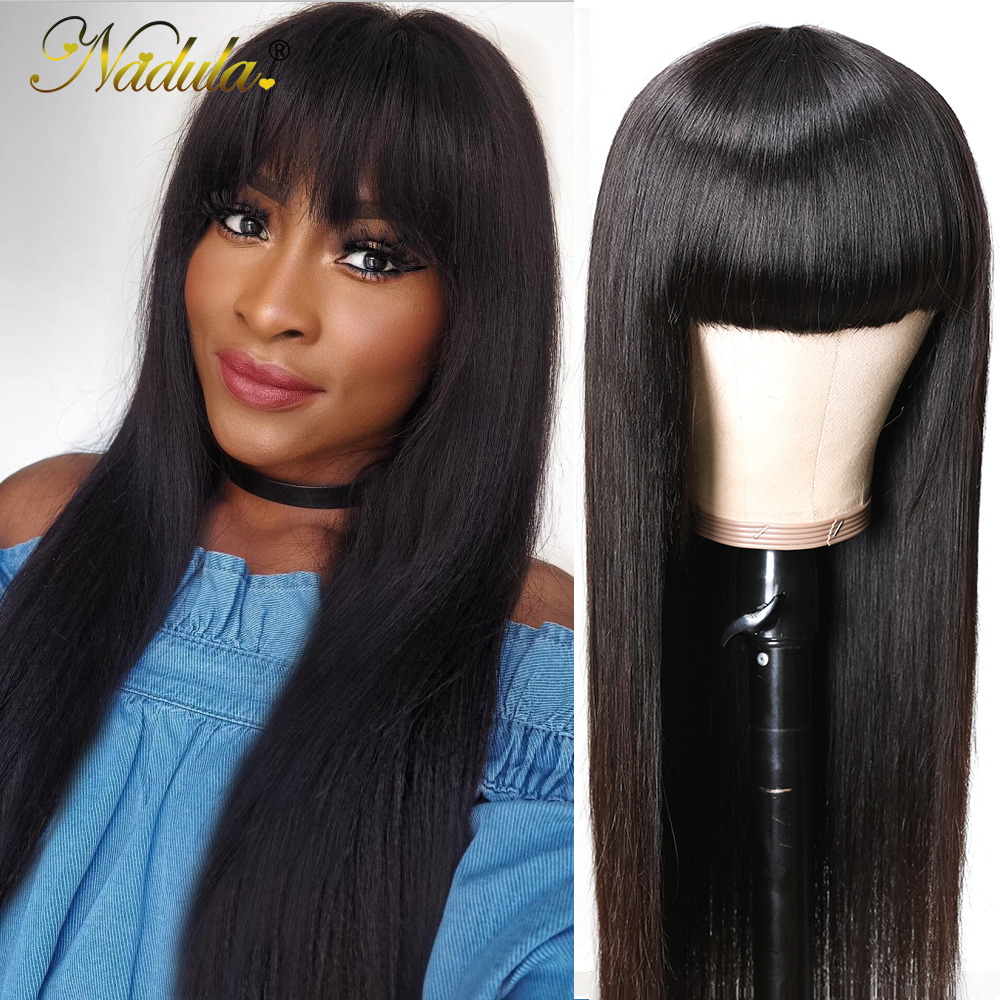 Nadula Hair Natural Machine Made Wig Straight Long Wig With Bangs  Wigs With Bangs  1