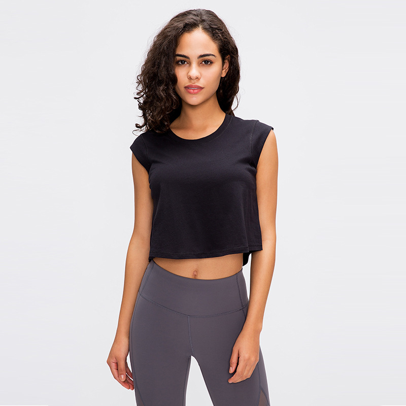 NWT 2020 Quick Dry Cotton Fitness Gym Sport Crop Tops Women Anti-sweat Loose Fit Yoga Running Sexy Tank Top Vest Sportswear