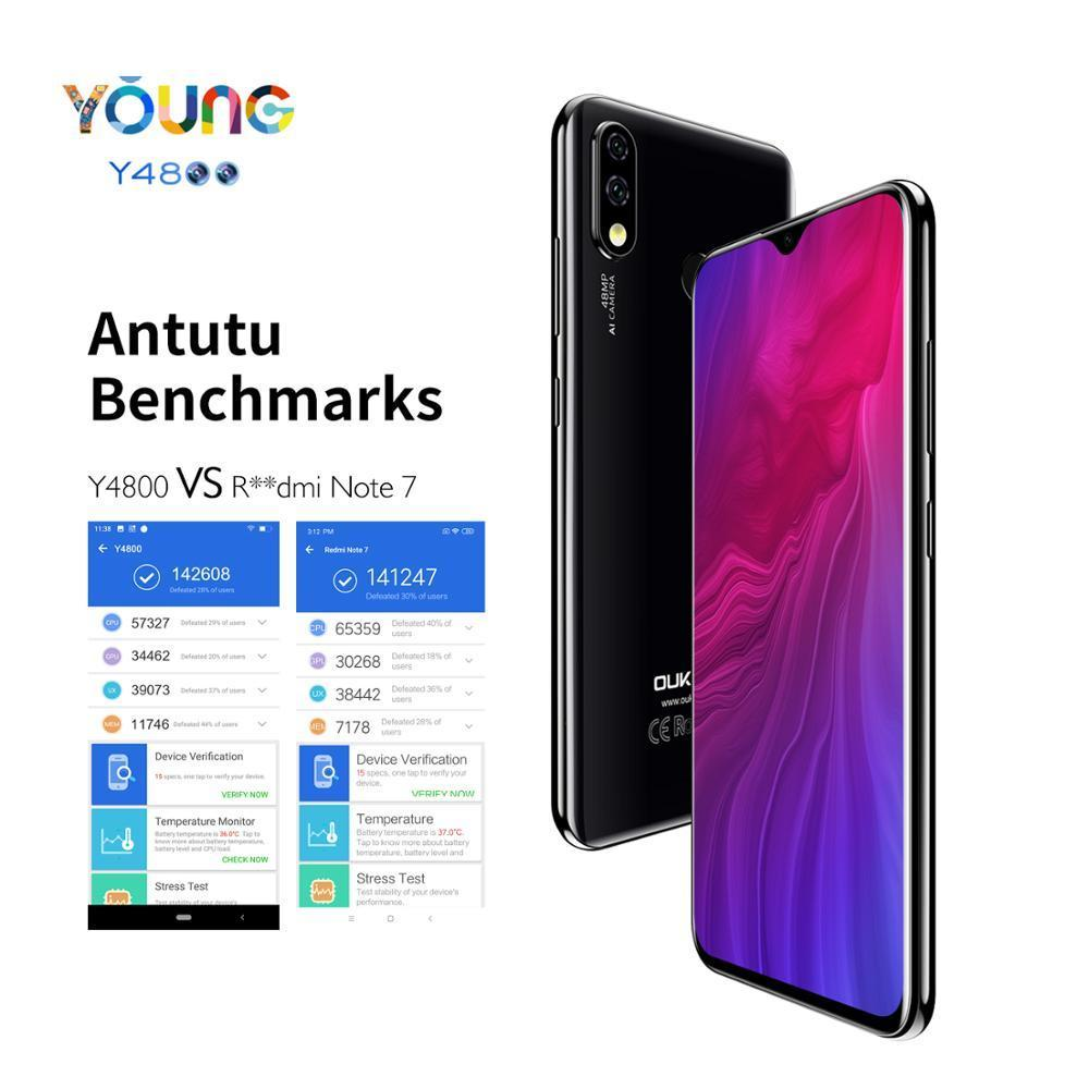 OUKITEL Y4800 6.3 inch FHD+ 6GB RQM 128GB ROM Android 9.0 Mobile Phone Octa Core Fingerprint 4000mAh 9V/2A Face ID 4G Smartphone
