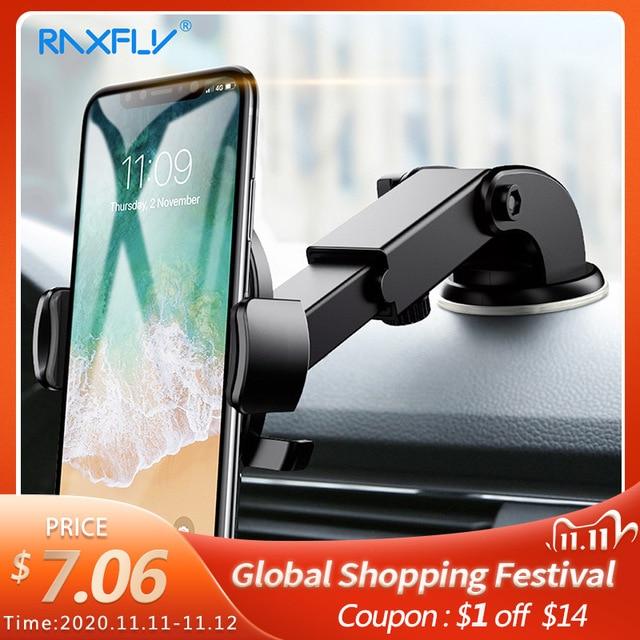 RAXFLY حامل هاتف السيارة الزجاج الأمامي جبل لسامسونج S9 زائد S8 S7 360 دوران حامل هاتف السيارة في السيارة آيفون هواوي حامل