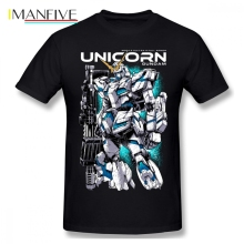 цена на Unicorn Gundam Japan Men T Shirt New Vintage Oversize Cotton Crewneck Short Sleeve Clothes
