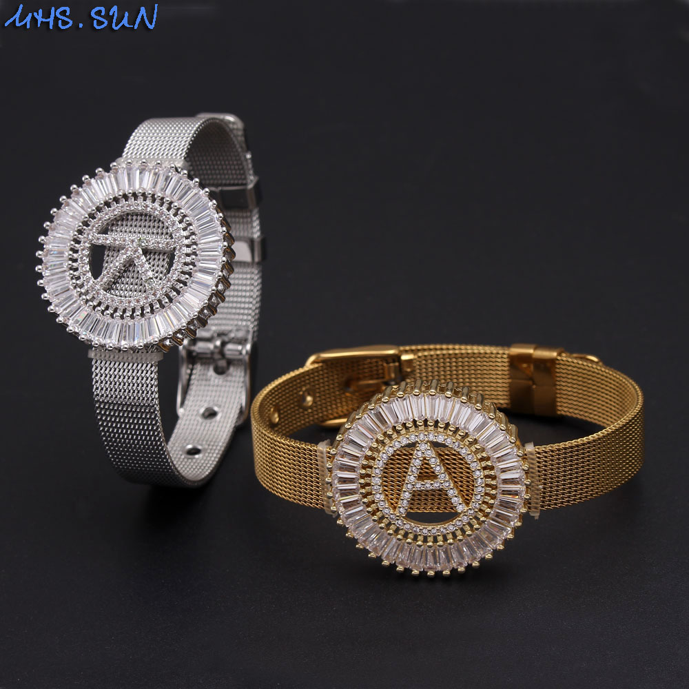 MHS.SUN Stainless Stee Watch Style Bracelet 26 Alphabets AAA Cubic Zircon Bangle A-Z Letters For Women Initial Jewelry Gift(China)