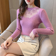 Sexy Lace Women Long Sleeve diamond Sweater 2019 Knit elasticity purple Pullovers Autumn Hollow out wave O-Neck Jumpers Ladies