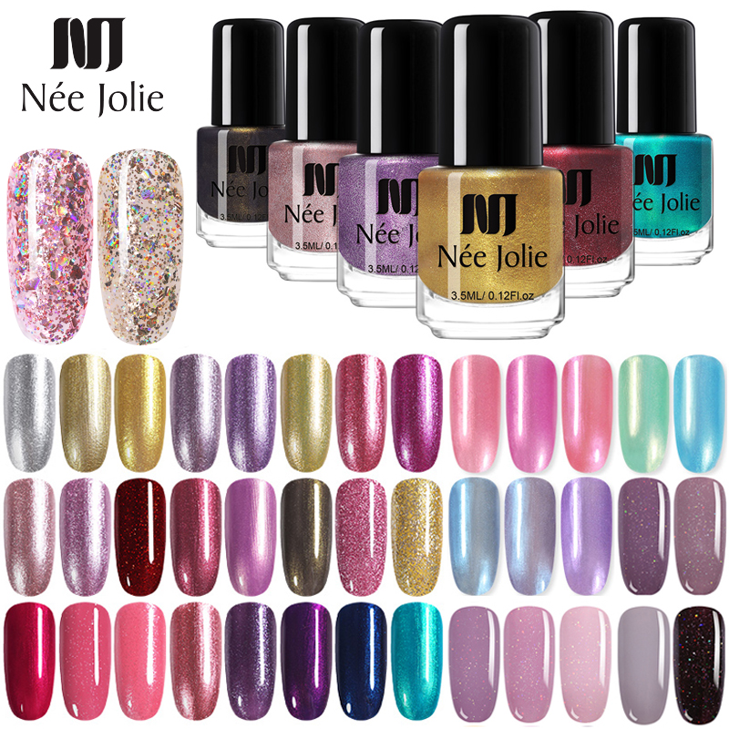 NEE JOLIE 73 Colors Nail Polish Nude Glitter Platinum Nail Art Polish Shiny  Pearly Shell Nail Art Varnish 3.5ml DIY