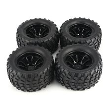 New 4Pcs 130mm 10 Contour Dump Fetal Flower Off-road Wheel Rim and Tires for 1/10 Monster Truck Raci