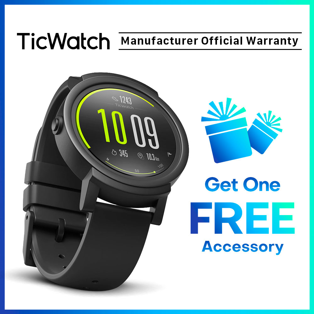 TicWatch E Smart Watch Bluetooth GPS Sport Watch IOS&Android Google Play IP67 Waterproof Long Battery Life Multi-language