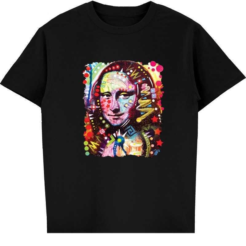 Модная футболка Мона Лиза неоновая разноцветная черная Leonardo Da Vinci Новинка