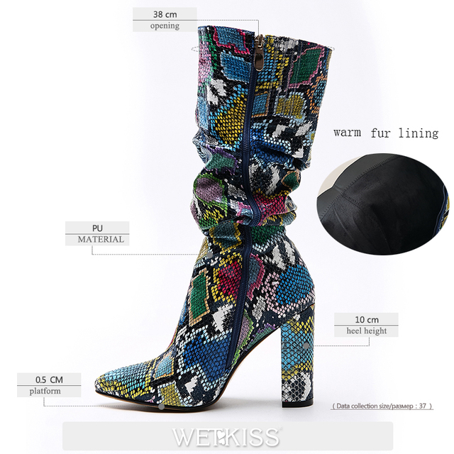 WETKISS Colorful Snake Skin Boots Women High Heel Thick Boot snakeskin Pointed Toe Zip Shoes Female Slouch Boots Pleated Winter 5