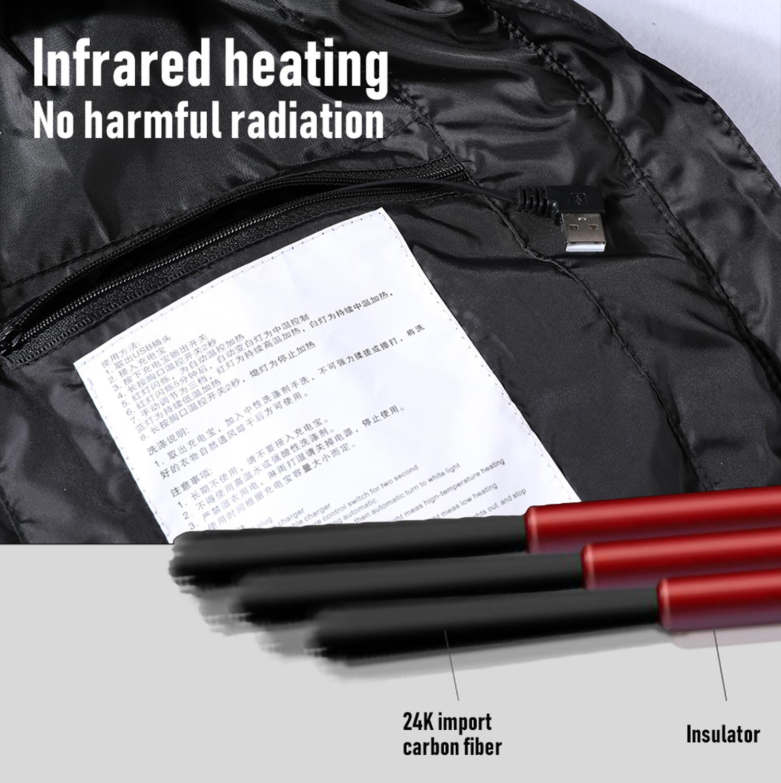 Мужчины% 27S 4 зоны Отопление Жилет Куртка USB Зима Двойное управление Интеллектуальный Постоянный Температура Электро Отопление Одежда На открытом воздухе Жилет