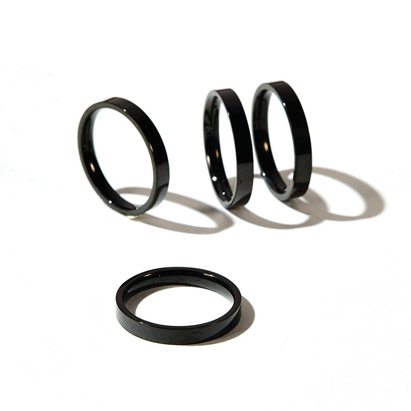 Titanium Stainless Steel Rings Rose Gold Silver Anti-Allergy Smooth Simple Black/&White Epoxy Wedding Rings for Women,9,Silver,Black