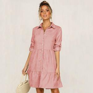 Shirt Dress Collar Autumn Winter Casual Women Half-Sleeve Straight Solid Turn-Down Single-Breasted