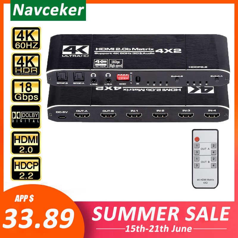Navceker 18,5 Gbps Matriz HDMI 4x2 4K @ 60Hz interruptor HDMI Splitter con SPDIF y L/R 3,5mm HDR interruptor HDMI 4x2 HDCP 2,2 3D
