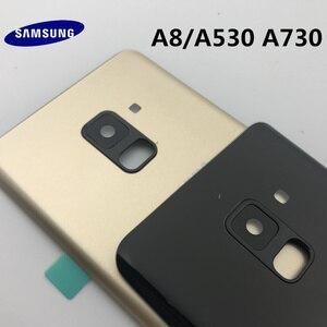 Image 4 - Ban Đầu Mới Dành Cho Samsung Galaxy Samsung Galaxy A8 A530 A530F A8 + Plus A730 Lưng Kính Pin Phía Sau Cửa Nhà Ở Lưng kính Cường Lực Mặt Sau Bao Da