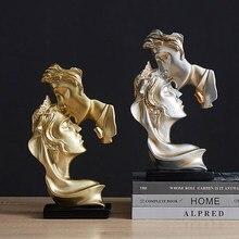 Nowoczesne z żywicy pocałunek maska statua abstrakcyjne ozdoby Art statuetki maska rzeźba rzemiosło dla biura Vintage Home Decor prezent ślubny