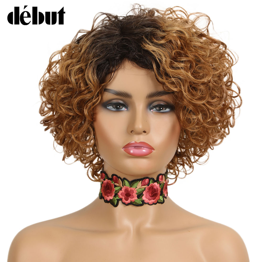 Debut Ombre Short Curly Human Hair Wigs Remy Short Bob Wigs 100% Human Hair Cheap Pixie Cut Human Hair Full Wigs For Black Women