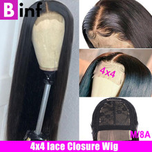 4x4 Closure Wig Lace Closure Wig Straight Lace Front Wig 150% Remy Lace Wig Peruvian Human Hair Wig Closure Wig For Black Women(China)