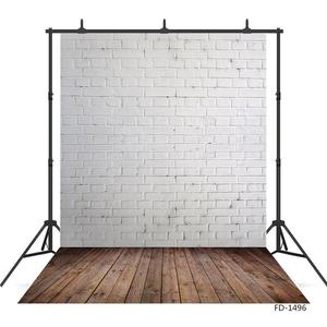 Image 2 - White Brick Wall Brown Floor Photography Background for Photo Studio Vinyl Cloth Portrait Photo Backdrop for Kid Baby Photophone