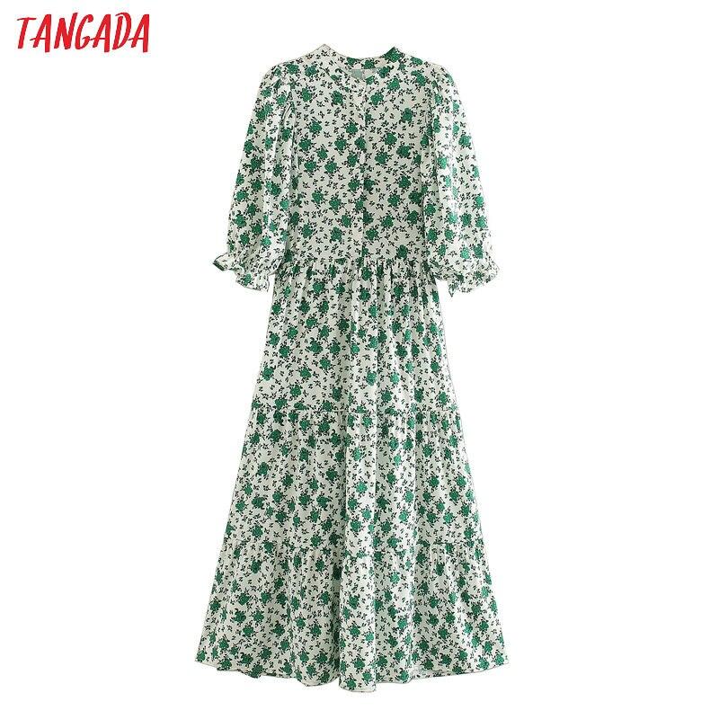 Tangada Women Elegant Green Foral Print Dress O Neck Half Sleeve 2020 Korean Fashion Office Lady Midi Dresses Vestido 5Z28