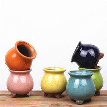Flower Pot Mini Purple Sand Ceramic Planter Home Decoration Meaty Potted Flowerpot Succulent  Planters for Succulents