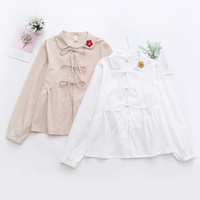 Mori Girl Super Cute Japanese Autumn Women White Long Sleeve Shirt Sweet Flower Embroidery Blouse Kawaii Student Loose Shirt