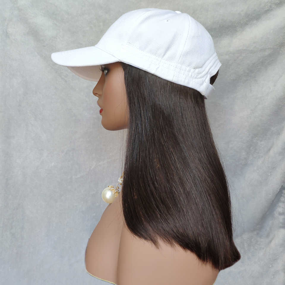 Baseball Cap Human Hair Wigs For Women Peruvian Straight Remy Hat Wig #2 or #1b 12 inches Adjustable Human Hair Extension Wig