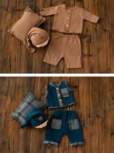 Jane Z Ann Baby boy gentlemen suit hat+ pillow +vest+ pants 4pcs clothing set twins clothing photo newborn photography props