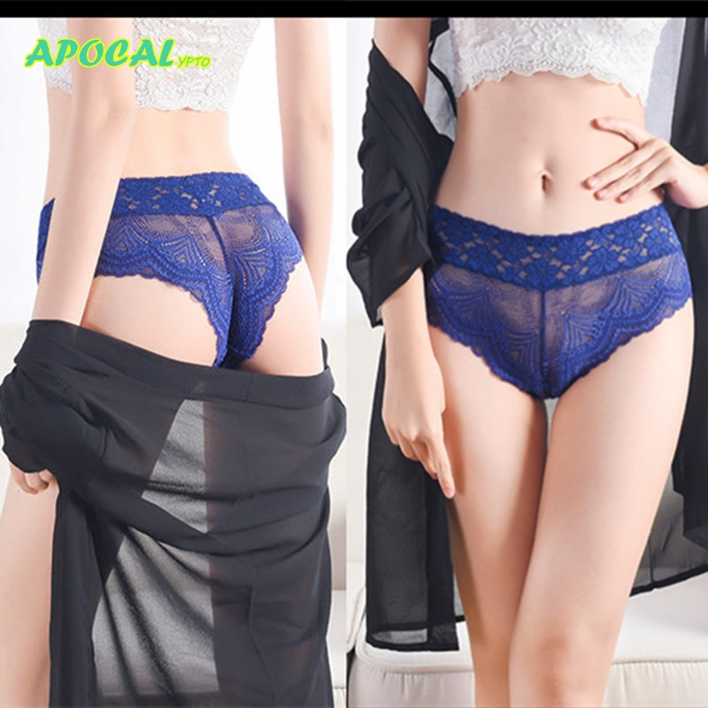 APOCAL Sexy femme Waist Thong Women Tangas lingerie Lace Transparent Underwear Seamless Briefs Panties Hollow out T string
