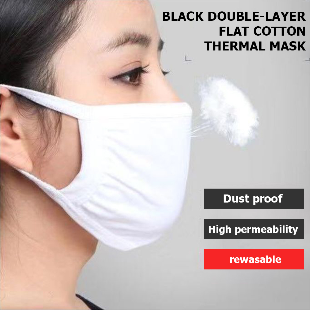 1pc Cotton Two-layer Mouth Mask Dustproof Reusable Washable Mask Men Women Breathable Earloops Face Mask