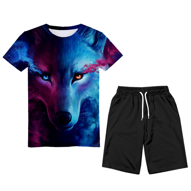 2019 Summer New Style Sports Europe And America Set Star Wolf Short Sleeve 3D Printed T-shirt Two-Piece Set Popular Brand Men'S