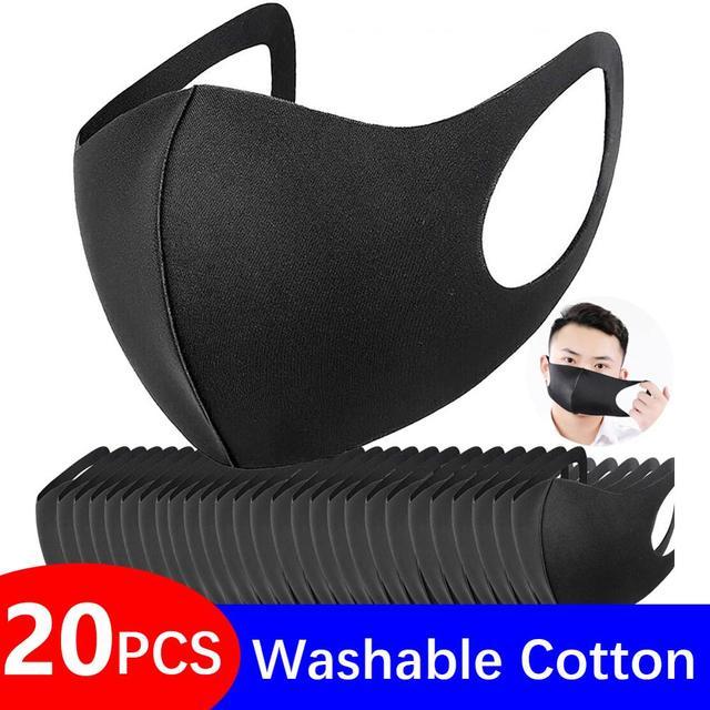 10 / 20 Pcs Washable Mask Mouth Reusable Black Cotton Cloth PM25 Filter Respirator Dust Proof 3D Face Masks FPP2 Adult PM 2.5
