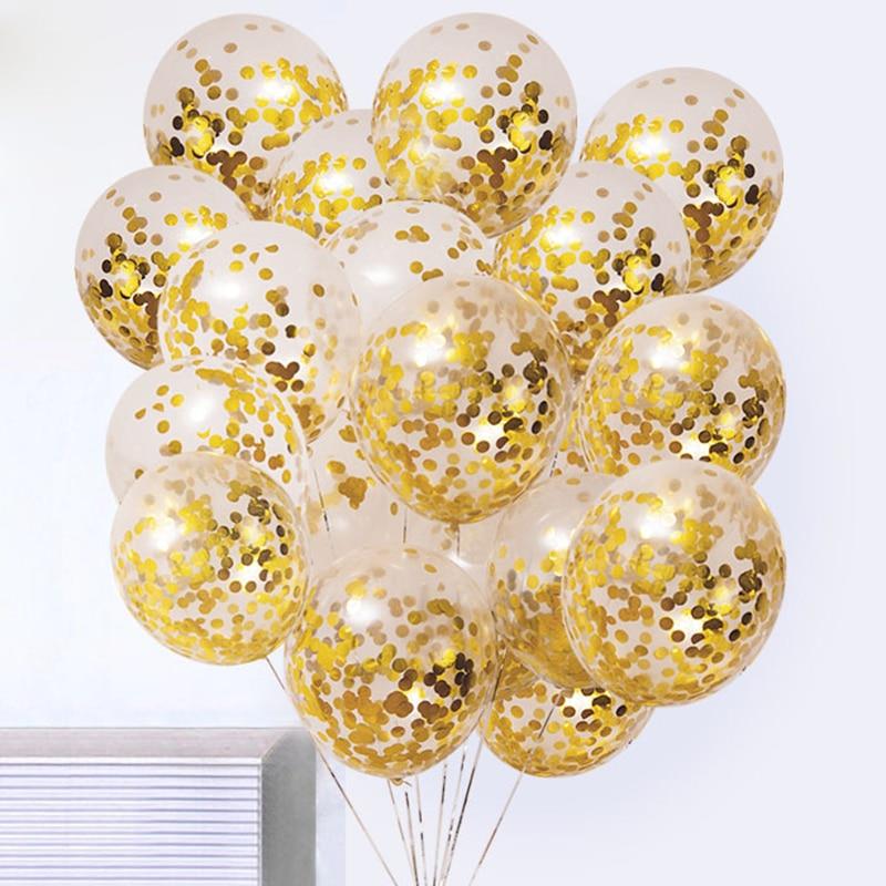 5Pcs Gold Foil Confetti Transparent Balloon Globos For Birthday Party Decoration