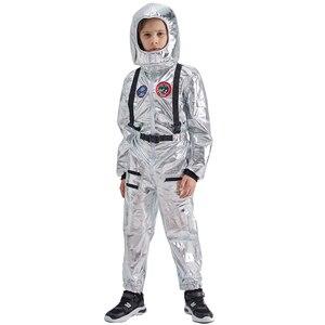 Image 2 - Eraspooky Boys Spaceman One piece Jumpsuit Silver Astronaut Cosplay Children Pilot Uniform Helmet Halloween Costume Kids Party