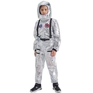 Image 2 - Eraspooky 男の子宇宙飛行士ワンピースジャンプスーツシルバー宇宙飛行士コスプレ子供パイロット制服ヘルメットハロウィン衣装子供パーティー