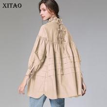 XITAO pileli artı boyutu gevşek Backless bluz moda kadın 2020 bahar tam kollu tanrıça Fan azınlık rahat gömlek DMY2926