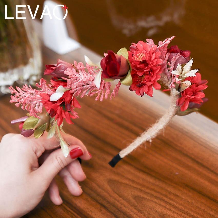 Levao Bride Flower Crown Headband Wedding Hair Accessories Sweet Floral Tiara Hairband Spring Wreath Garland Hair Hoop Headwear