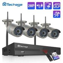 H.265 8CH 1080P 2MP 무선 NVR 보안 CCTV 시스템 양방향 오디오 IR 야외 WiFi IP 카메라 P2P 비디오 감시 키트 1 테라바이트 HDD